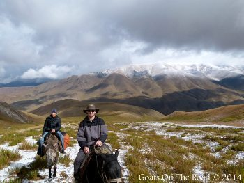 Ascot and Nick on horses in Song-kul, Kyrgyzstan. Nick Wharton photos