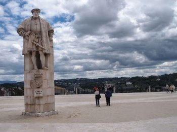 A huge statue at the University in Coimbra, Portugal.