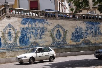 A tile mosaic mural on a street in Viseu. Max Hartshorne photo.