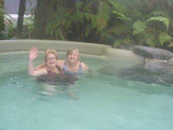 Enjoying a soak in the hot springs.