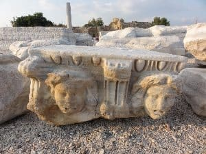 Ancient Roman ruins detail in Side, Turkey.