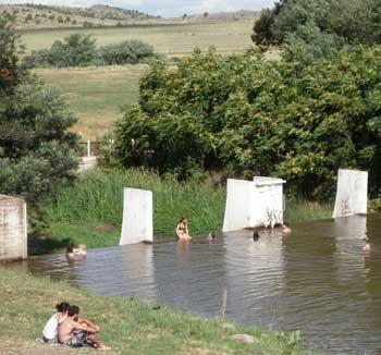 Cooling off in the Sierra Villa Ventana river.