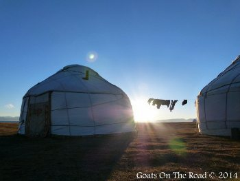 Sunset over the yurts.