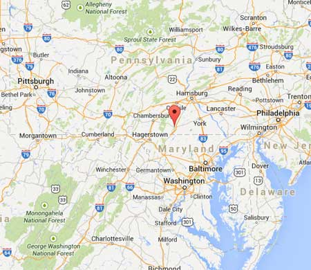 Map showing the location of Gettysburg Pennsylvania.