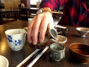 Soba no Mi, Togakushi, Japan: Nothing like hot sake to help you defrost from the inside out.