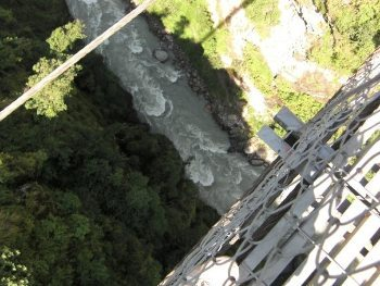 Looking down at the bungee jump.