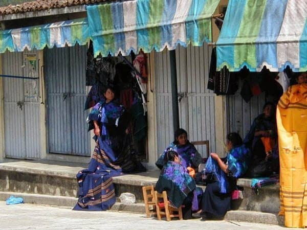 A village where everyone dresses in purple in Chiapas Mexico. Lori Veale photo.