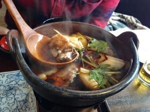Soba no Mi's seasonal special -- a steaming hot pot of pheasant soup.