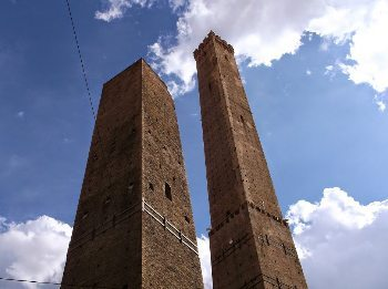 The two towers in Bologna, Italy.