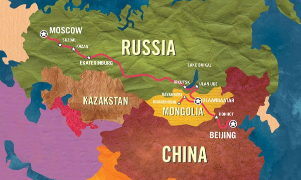 The long route of the Trans Siberian railway.