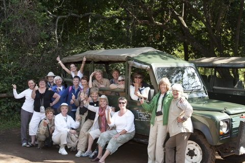 The Gutsy Women Travel group on a trip through Kenya.