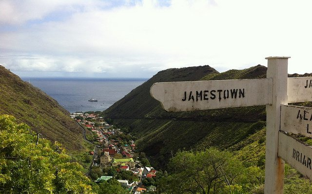 Jamestown, a small town on the island of St. Helena, makes up most of the population