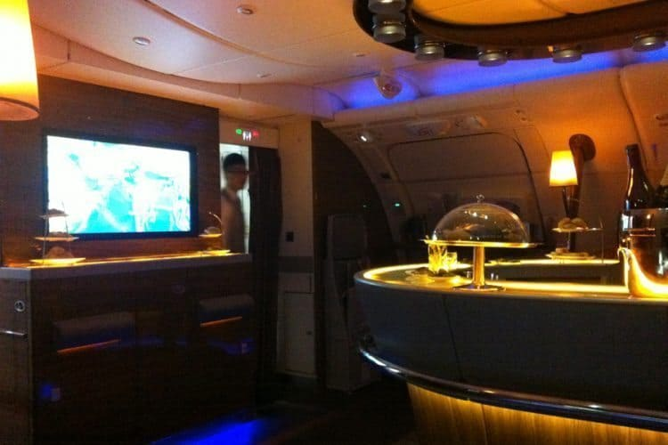 The spacious bar in the double-decker Airbus A380 jumbo jet. One of the best planes.