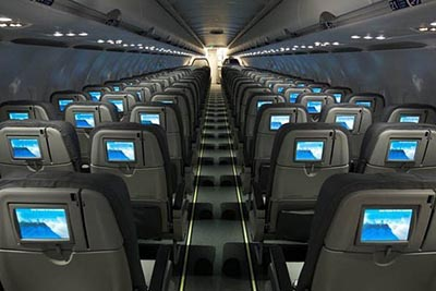 Individual monitors for each passenger on Jet Blue, best airplanes