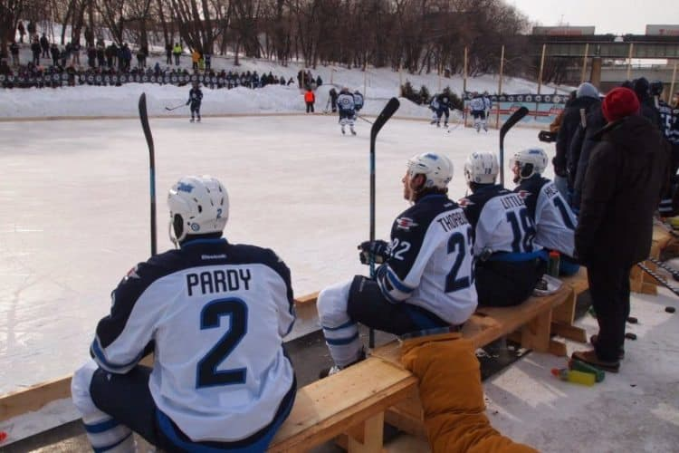 Winnipeg Jets players had a scrimmage on a Sunday afternoon on the frozen river in Winnipeg, Manitoba.