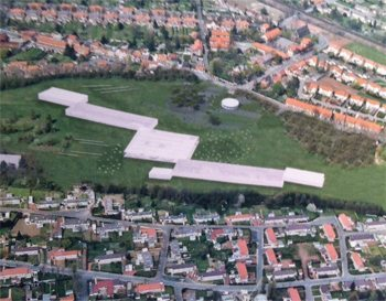 Aerial view of Louvre-Lens, Northern France.