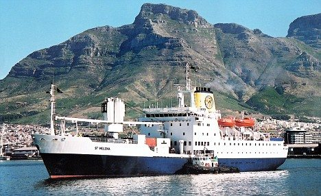 The Royal Mail Ship departing Cape Town for St. Helena