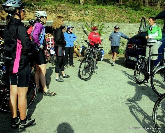 The biker group assembles before the ride in Albania.