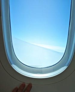 A Boeing 787 Dreamliner's large window.