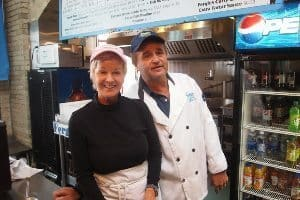 The proprietors of Fergies Fish and Chips at the Forks.