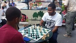 Kids playing chess at the park.
