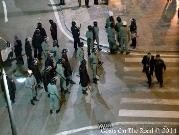 The riot police arrive on the scene.