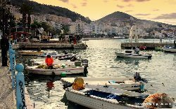 Saranda harbor in the Ionian sea.
