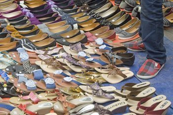 Assorted shoes in old Jakarta.