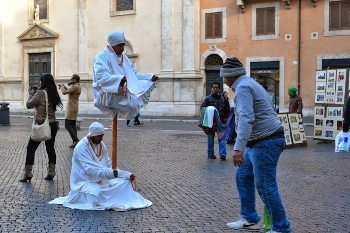 Levitating a swami in the streets of Rome. Not really.