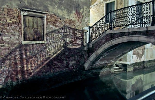 Julie Christie - The unexpected mystery of Venice... misleading reflections, startling shadows, ominous light and shade, and endless corners. What's round the next one? My view may, of course, be coloured by the film I was making there. It was winter and raining, but winter is Venice's season. As water is Venice's element.