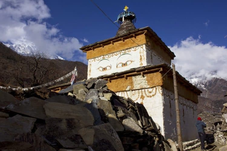 Every element of a chorten (stupa) has symbolic meaning: the distinctive all-seeing eyes of Buddha and the Sanskrit character for the number one, symbolizing the absoluteness of Buddha.
