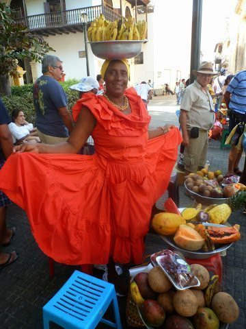 One of thousands of colorful fruit sellers on the streets of Cartagena.