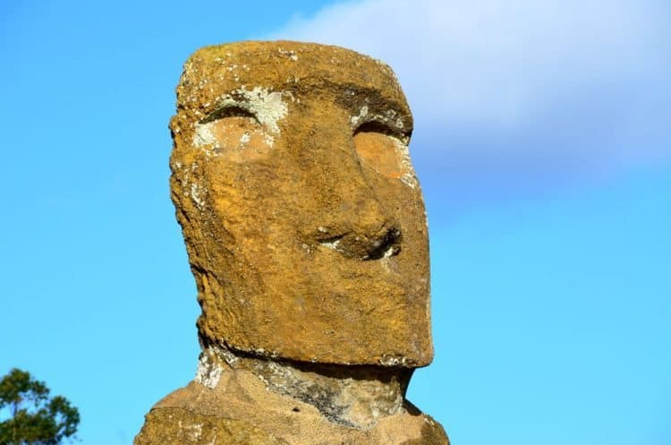 One of the moai on one of the two ahus at beautiful Anakena Beach, Easter Island.