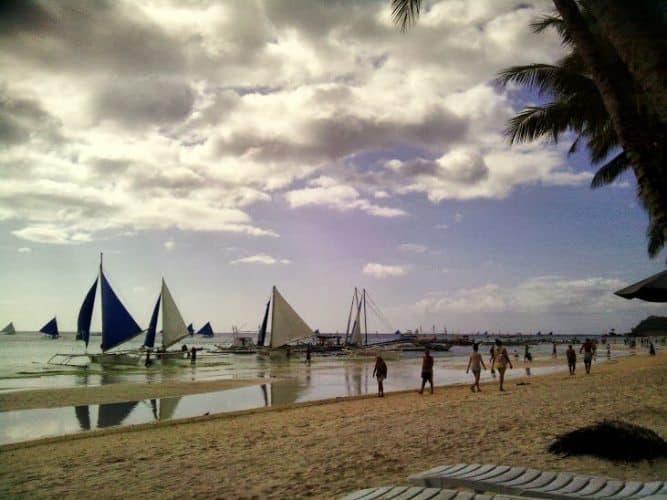 Sailboats on White Beach, on Boracay, Philippines. Caryl Estrosas photos.