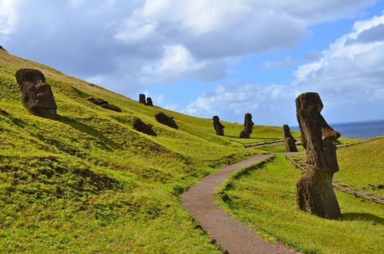 Rano Raraku, Easter Island is a volcanic crater that served as the quarry for about 95% of the island's sculptures known as moai. These moai were left in various states of production.