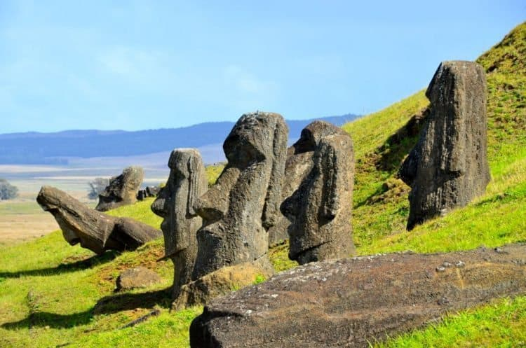 Rano Raraku, Easter Island is a volcanic crater that served as the quarry for about 95% of the island's sculptures known as moai. These moai were left in various states of production. Keith Hajovski photos.