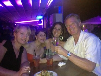 John and some of his fellow expats enjoying drinks in Rome.