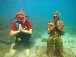 Jeanie in the underwater sculpture park in Grenada.