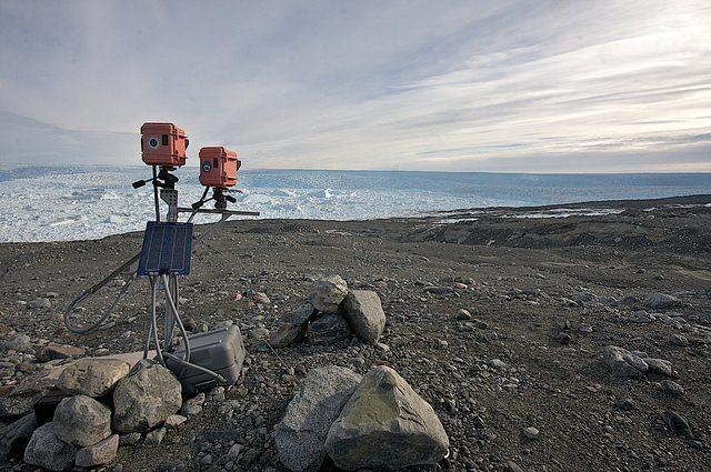 Cameras for recording glacier calving.