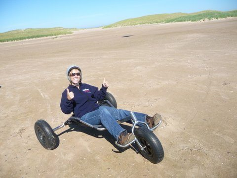 Cindy on a wind buggy in the Magdalen Islands.