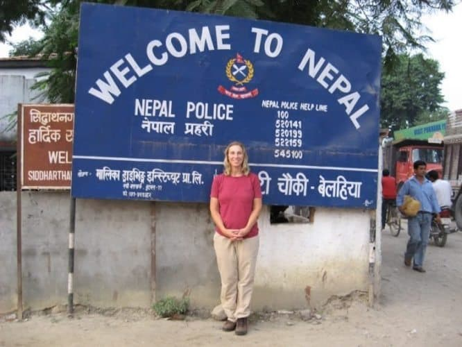 Diane LaFountaine was very happy to reach the border of Nepal after a harrowing taxi trip.