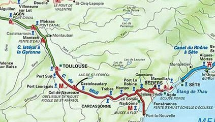 The Canal du Midi, in red, from Toulouse to Sete.