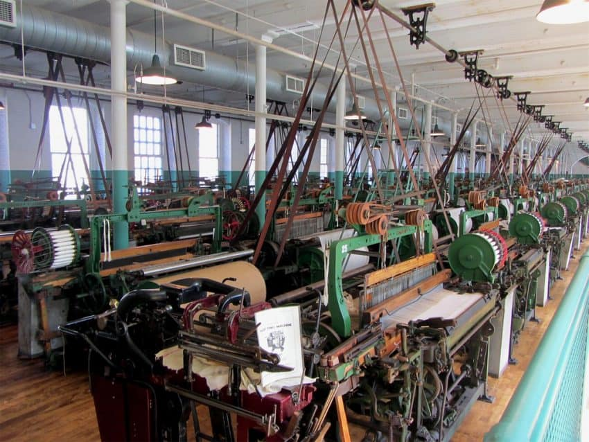 Textile machines inside one of the museums connected to the Lowell National Historic Park.