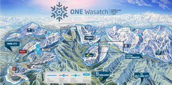 Follow along at http://onewasatch.com for details on 18,000 acres of interconnected mountain resort skiing.