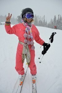 I chase this pink retro-wearing ski bunny down several slopes.