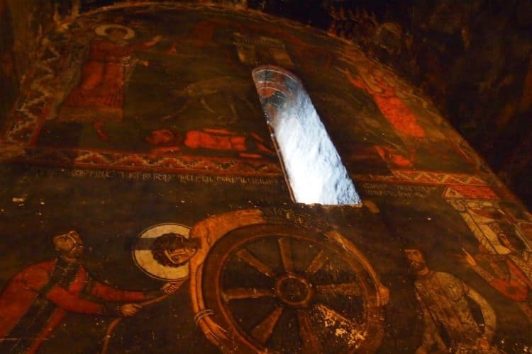 Fresco of Saint George being tortured by invaders in Ipari, Georgia.