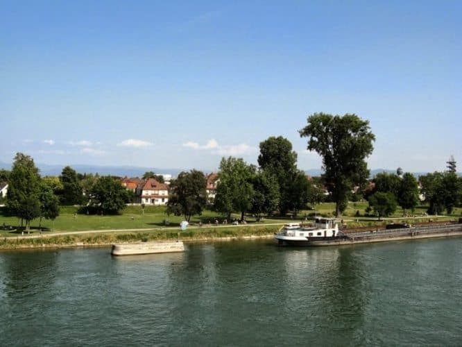 Kehl, Germany, as seen from the footbridge joining the two sides of the Jardin des Deux Rives.