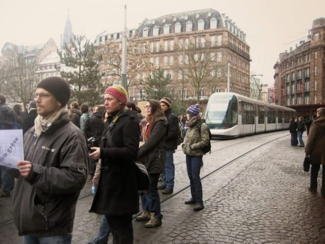 Student strikers at the university in Strasbourg, France. Jamie Leigh photos.