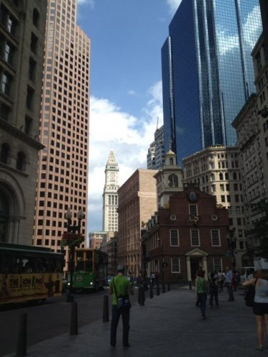 The oldest public building in Boston, the Old State House, is dwarfed by skyscrapers. Photos by Sarah Robertson.