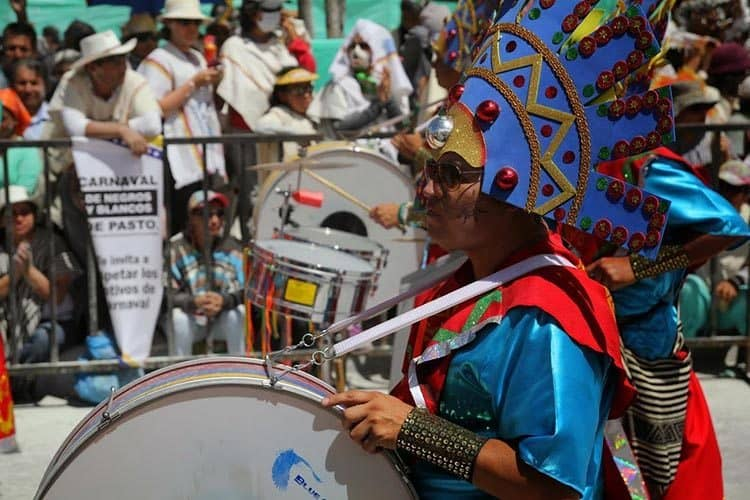 Andean marching band duringthe great parade in Pasto.